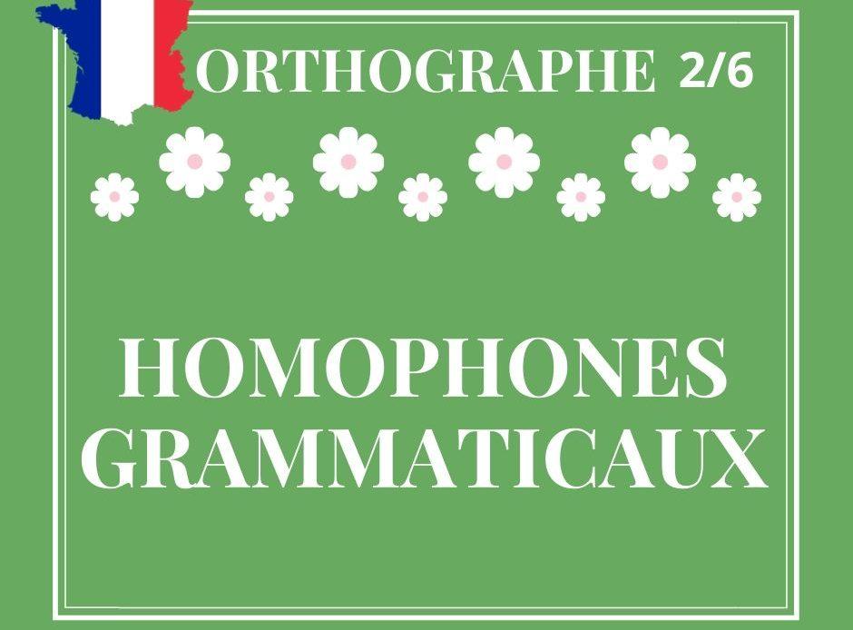 ORTHOGRAPHE 2/6, homophones grammaticaux