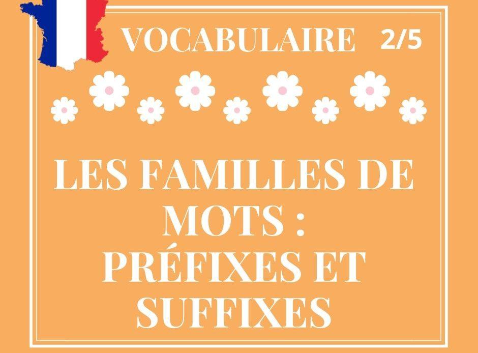 VOCABULAIRE 2/5 : les familles de mots, préfixes et suffixes