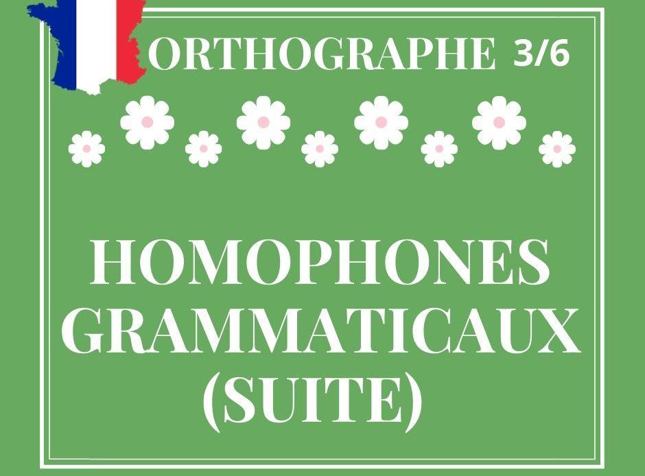 ORTHOGRAPHE 3/6, homophones grammaticaux (suite)