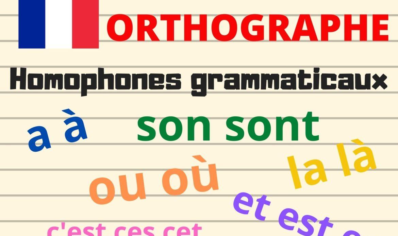Les homophones grammaticaux : a à, son sont, ou où, et est es, c'est ces cet, là la, …