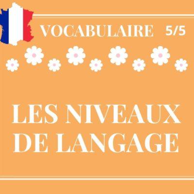VOCABULAIRE 5/5 : les niveaux de langage