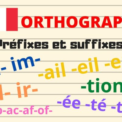 ORTHOGRAPHE : les préfixes «in- im- ir- il- ap-ac-af-of-» et les suffixes «-tion -ail -eil -euil -ée -té -tié» …